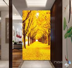Wall Mural Decals Tree by 3d Yellow Leaves Fall Tree Corridor Entrance Wall Mural Decals Art