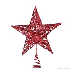 Star Christmas Tree Topper Decoration 5 Point Treetop DecorRed20X25cm