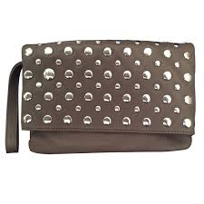 sonia rykiel clutch bags clutch bags leather taupe ref 17006
