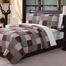 Rustic Red Grey White Queen Quilt Set Plaid Tartan Patchwork