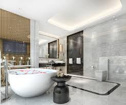 modernes klassisches badezimmer der 3d wiedergabe mit