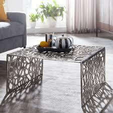 wohnling couchtisch 60 5x31x60 5 cm aluminium silber loungetisch quadratisch sofatisch ast struktur metall wohnzimmertisch modern design