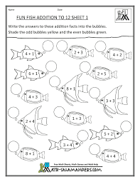 Homeschool Math Worksheet Fun Addition To 12 Fish 1 Worksheets For Grade 1Coloring