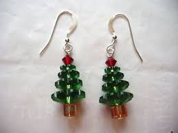 Image Is Loading CHRISTMAS TREE EARRINGS Made With SWAROVSKI CRYSTALS Holiday