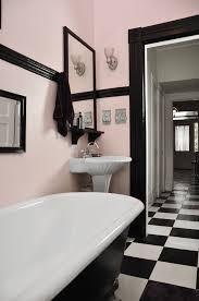 with retro wall art gorgeous light pink and black retro bathroom