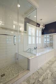 Chandelier Over Bathtub Soaking Tub by Glass Enclosed Shower With Bench Connected To The Platform Of A