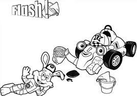 Flash And Roary The Racing Car Washing Car Colouring Page Flash