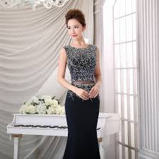 finove black mermaid prom dresses o neck sleeve beadings prom