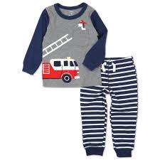 Boys Firetruck 2 Pc Pants Set - Multi (2-5T) | Burkes Outlet