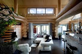 modernes wohnen im naturstammhaus rustikal wohnbereich