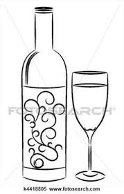 Wine Bottle And Glass View Large Illustration