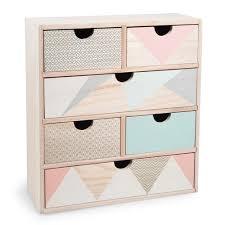 boite a tiroirs en bois boîte 6 tiroirs en bois h 34 cm anja maisons du monde