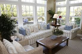 Cottage Style Solarium Living Room With Beige And White Striped Furniture One Armchair Being A