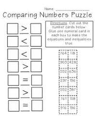 Comparing Numbers Puzzle 3 Digit Freebie