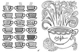 Pretty Print Coloring Pages For Adults Free Printable Coffee Cups