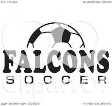 Clipart of a Black and White Ball and FALCONS SOCCER Team Text