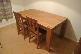 Pine Dining Table Next Storage Bench And 2 Chairs