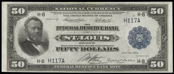 1918 50 Dollar Federal Reserve Bank Note Grant Fifty Bill