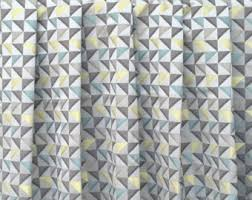 yellow grey curtains etsy