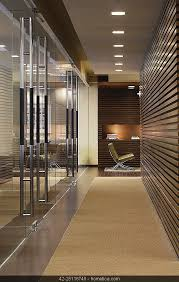 Contemporary Modern Minimalistic Entrance Hallway Office With Wood Panel Recess Light And Carpet Floor