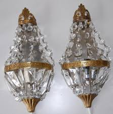 pair vintage bronze 1 light wall sconces from