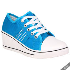 womens ladies canvas high tops heel wedge trainers sneakers lace