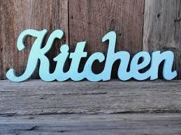 Kitchen Word Decor By Wall Sign Aqua Shabby Chic