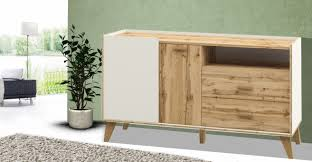 sideboard wohnzimmer kommode anrichte 134cm weiß wotan eiche