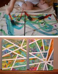 Tape Canvas With Painters Let Kids Paint Peel Away For A Cool Art