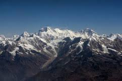 mountain ranges of himalayas everest peak and himalaya everest mountain range panorama stock