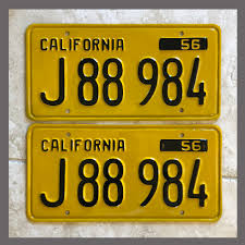 100 Truck License 1956 California YOM Plates For Sale Restored Vintage Pair