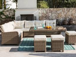 garten sitzgruppe amasya polyrattan glas 5 sitzer sofa 3 hocker tisch beige