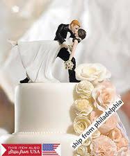 Romantic Bride And Groom Wedding Couple Figurine Dancing Dip Hug Cake Topper