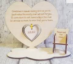 Personalised Christmas In Heaven They Come Down To Earth To Spend With You  Save Them Seat Plaque With Rocking Chair Baby Crib Angel Memory