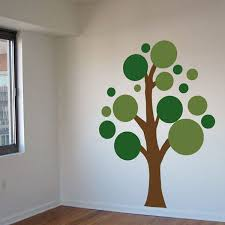 Green Simple Wall Decals Tree Sample Different Color Dalidecals Lots Of Circles White Wallpaper Interesting
