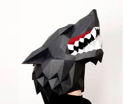 Wolf Face Pumpkin Carving Patterns by Wolf Head Mask With Decor Halloween Mask Diy Paper Creation