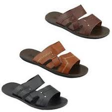 New Mens Real Leather Brown Black Summer Slip On Sandals Beach Walking Slippers