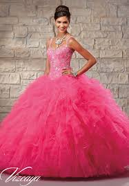 quinceanera dresses by vizcaya embroidered and beaded bodice on a