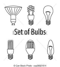 set of different types of bulbs vector illustration source