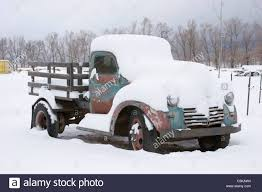 Vintage Red Truck Snow Stock Photos & Vintage Red Truck Snow Stock ...
