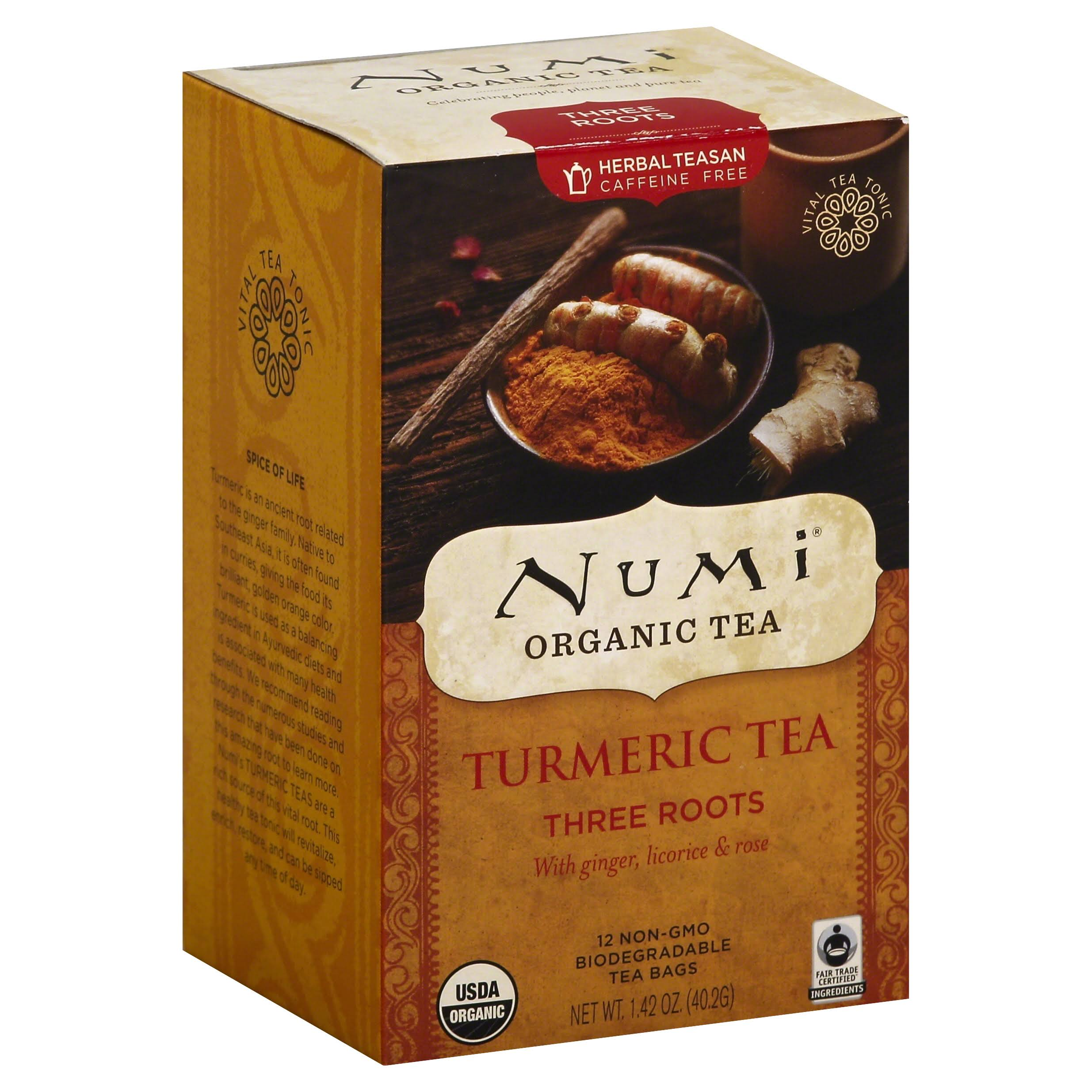 Numi Three Roots Ginger Turmeric Tea - 12 Bags