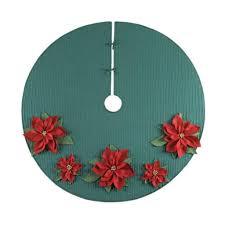 54 Poinsettia Green Felt Merry Christmas Tree Skirt Holiday Home