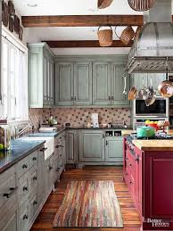 Make A Rustic Kitchen Appear As If It Was Furnished Over Time With Rough Texture Tiled BacksplashTHAT RED ISLAND