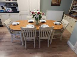 100 Oak Table 6 Chairs SHABBY CHIC DUCAL PINE EXTENDING DINING TABLE CHAIRS In Shabby Chic