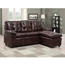 amazon com buchannan faux leather sectional sofa with reversible