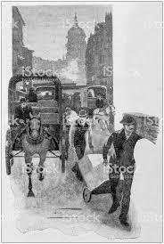 Antique Painting Illustration Press Newspaper Distribution Royalty Free