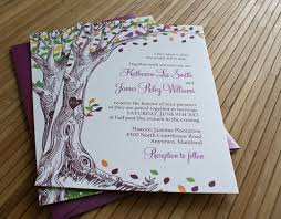 Sweet Purple Rustic Wedding Invitations Combined With Tree Painting Decoration And Attrcative Colorful Leaves Design Beautify