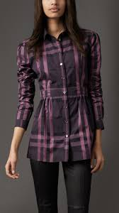 burberry check cotton tunic in purple lyst