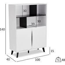 lynda sideboard 4 offene ablagen weiss schwarz kommode schrank wohnzimmer board