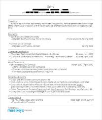 Example Of Pharmacy Technician Resume Tech At Cvs Letter Directory